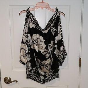 Floral cold shoulder shirt